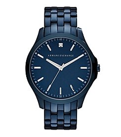 A|X Armani Exchange Men's Blue IP Stainless Steel Watch With Diamond On Blue Dial