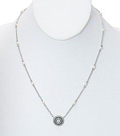 Lauren Ralph Lauren® Silvertone Bridal Stone Pendant And Glass Pearls Necklace