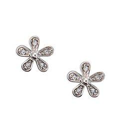 Lauren Ralph Lauren® Silvertone Bridal -Small Flower Crystal Stud Earrings