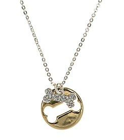 Pet Friends™ Two Tone Circle Bone Charm Pendant Necklace