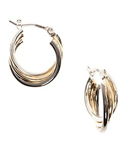Nine West® Tri Tone Twist Hoop Earrings