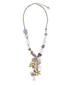 Erica Lyons® Two Tone White Out Charmy Tassel Necklace