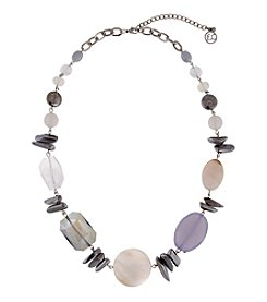 Erica Lyons® Silvertone White Out Chunky Bead Necklace