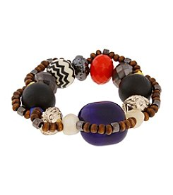 Erica Lyons® Two Tone Queen Of De Nile Large Mixed Bead Stretch Bracelet