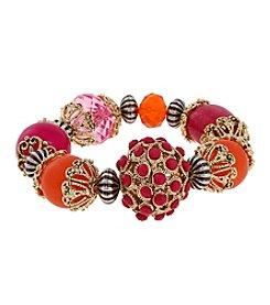 Erica Lyons® Goldtone Back To The Fuchsia Large Bead Stretch Bracelet