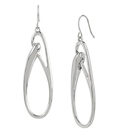 Kenneth Cole® Silvertone Sculptural Oval Link Drop Earrings