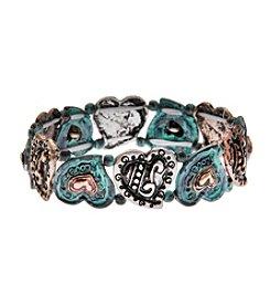 L&J Accessories Tri Tone Heart Stretch Believe In Stretch Bracelet