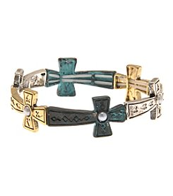 L&J Accessories Two Tone Cross Believe In Stretch Bracelet