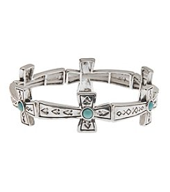 L&J Accessories Silvertone And Turquoise Cross Believe In Stretch Bracelet