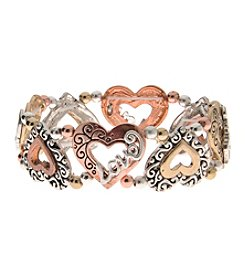 L&J Accessories Tri Tone Love Heart Stretch Believe In Bracelet