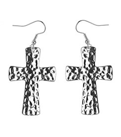 L&J Accessories Silvertone Hammered Cross Pierced Earrings