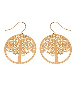 L&J Accessories Goldtone Tree Of Life Pierced Earrings