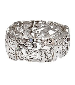 L&J Accessories Silvertone Peace Believe In Stretch Bracelet