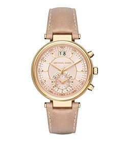 Michael Kors® Sawyer Goldtone And Peanut Leather Chronograph Watch