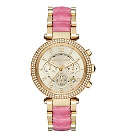 Michael Kors® Parker Goldtone And Pink Acetate Chronograph Watch
