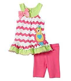 Nannette® Girls' 2T-4T Chevron Tunic With Bird Applique And Leggings Set
