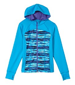Exertek® Girls' 7-16 Long Sleeve Print Blocked Active Hoodie