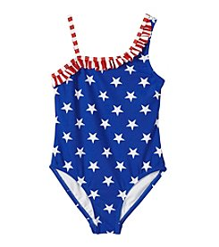 Mambo® Girls' 4-6X One-Piece One Shoulder Americana Swimsuit
