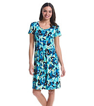 Notations Printed Pleated Dress