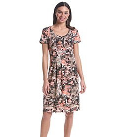 Notations® Printed Pleated Dress