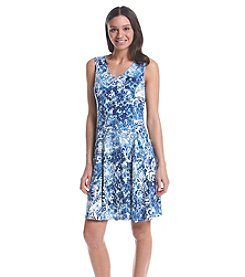 Notations® Printed V-Neck Dress