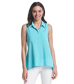 Notations® Sleeveless Button Front Shirt