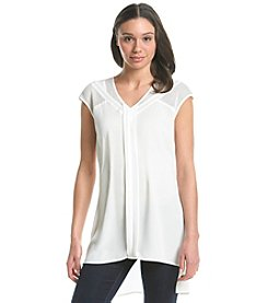 Spense® V-Neck Mesh Insert Top