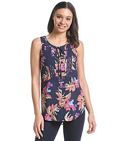 Black Rainn™ Front Tie Tropical Top