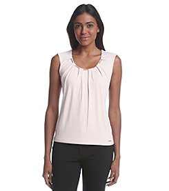 Calvin Klein Goldtone Chain Collar Pleated Top