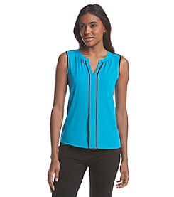 Calvin Klein Split Neck Woven Top