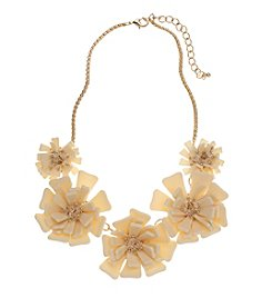 Relativity® Ivory And Goldtone Frontal Flower Necklace
