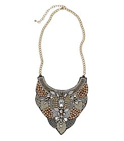 Relativity® Goldtone Beaded Bib Necklace