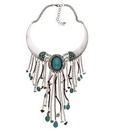 Relativity® Collar Necklace With Turquoise And Fringe Leather