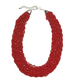 Studio Works® Red Braided Seed Bead Collar Necklace