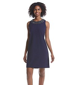Ronni Nicole® Beaded Neckline Crepe Dress