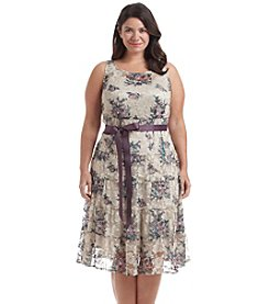 S.L. Fashions Plus Size Jersey Lace Sequin Dress