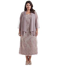 R&M Richards® Plus Size Chiffon Lace Jacket Dress