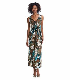 R&M Richards® Patterned Beaded Maxi Dress