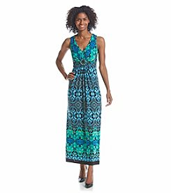 R&M Richards® Damask Patterned Maxi Dress
