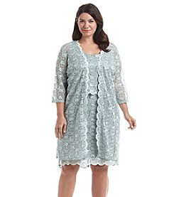 R&M Richards® Plus Size Scalloped Lace Dress