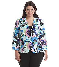 Kasper® Plus Size Floral Splatter Print Jacket