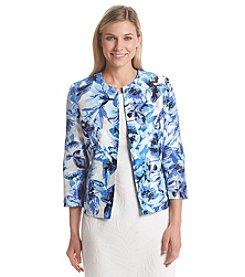 Kasper® Hibiscus Printed Open Jacket