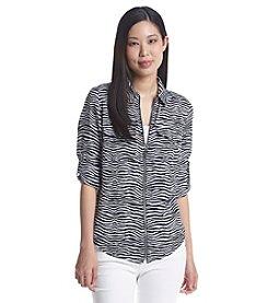 MICHAEL Michael Kors® Zebra Print Zip Up Woven Shirt