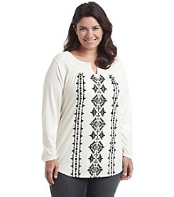 Ruff Hewn Plus Size Embroidered Top With Flocking