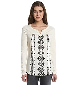 Ruff Hewn Petites' Embroidered Top With Flocking