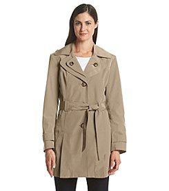 London Fog® Petites' Belted Double Collar Trench Coat