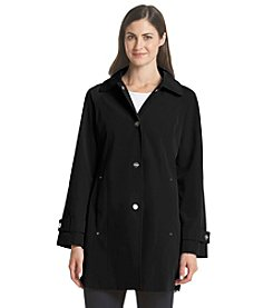London Fog® Petites' Hooded Walker Trench Coat