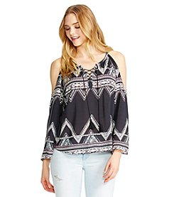 Jessica Simpson Printed Peasant Top
