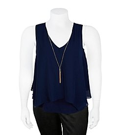 A. Byer Plus Size Necklace Flyaway Top