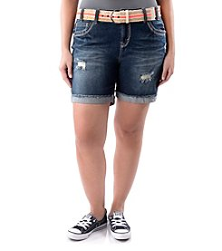 Wallflower® Plus Size Belted Destructed Jean Shorts